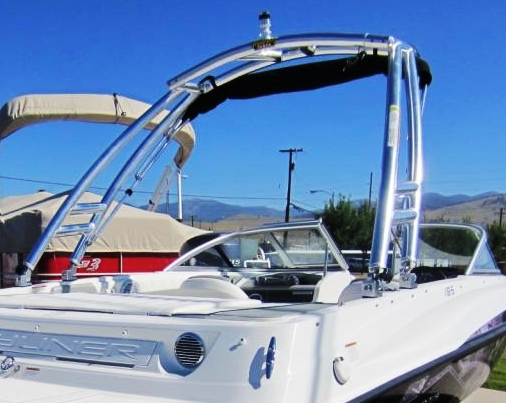 Bayliner 185BR, 2013: Tower-Bimini-Top-in-Boot Monster-Tower, starboard-rear