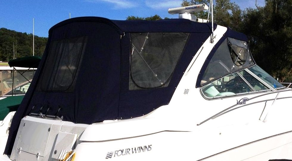 Four-Winns Vista-378, 2003: Bimini-Top,, Front-Visor Side-Curtains Camper-Top Camper-Side-and-Aft-Curtains, starboard-rear