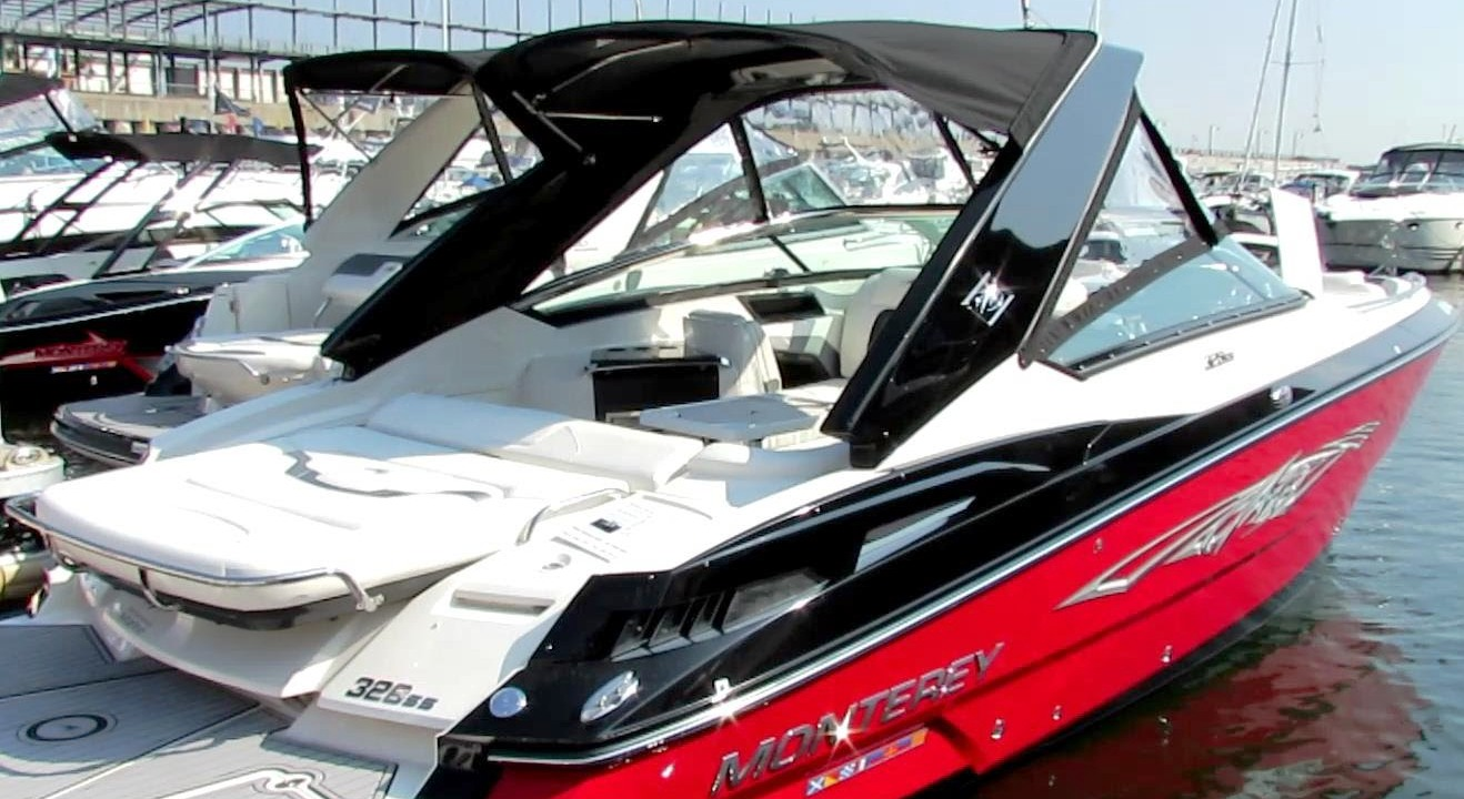 Monterey® 328-Super-Sport, 2014: Hard-Top-Visor Side-Curtains Sunshade-Top, starboard-rear