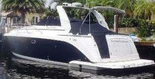 Rinker® 410-Fiesta-Vee-Express-Cruiser-Canvas-Tops, 2004: Radar-Arch Camper-Top-in-Boot Cockpit-Cover, port-rear