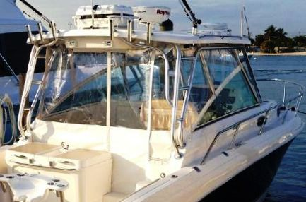 Wellcraft® Coastal-340, 2013: Factory-Hard-Top Connector,, Front-and-Rear-Side-Curtains Aft-Drop-Curtain, starboard-rear