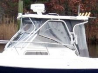 Photo of Aquasport 250 Explorer, 2005: Hard-Top, Front Connector, Side-Curtains, Aft-Drop-Curtains, viewed from Port, Side
