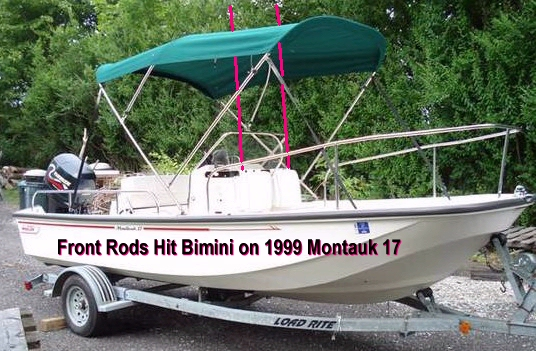 Front Rods Hit 1999 Boston Whaler Montauk-17 Bimini Top Picture