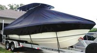 Photo of Bluewater 2550 19xx T-Top Boat-Cover, viewed from Starboard Bow