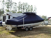 Photo of Bluewater 2550 20xx T-Top Boat-Cover, viewed from Starboard Rear
