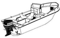 Boat-Cover-CSF-Model™Carver(r) 702xx series Styled-To Fit(tm) boat cover (for Narrow, V-Bow/V-Hull, Center Console (up to 50 inch) fishing boat with High Bow Rail (up to 6 inch); O/B) provides a GUARANTEED Fit