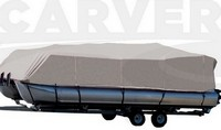 Boat-Cover-CSF-Model™Carver(r) 775xx series Styled-To Fit(tm) boat cover (for Pontoon boat with Bimini Top and Rails that FULLY Enclose Deck; O/B) provides a GUARANTEED Fit