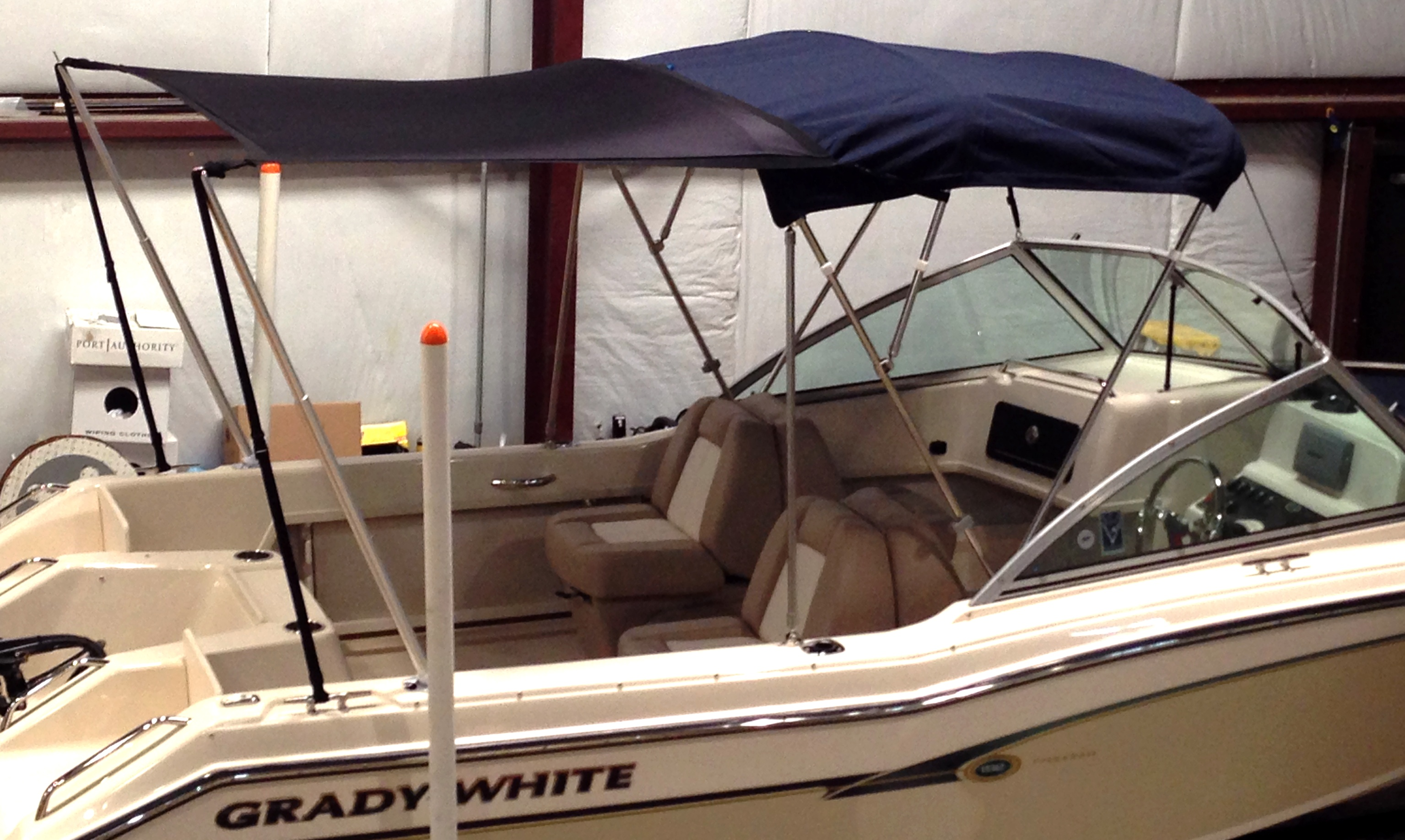 Boat Shade Kit Bimini Grady White Tournament 192, 20xx, starboard rear