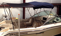 Boat-Shade-Kit-Bimini™BIMINI (or Sunshade) Top Shade Extension Kit, 6-8 foot Wide x 5-7 foot Long coverage (= 30-56 square feet), 6ft W x 5ft L unstretched for any boat with a Bimini, Convertible or Sunshade Top and a beam up to 10-foot with 2 Rod Holders on the gunwales at the rear of the boat. Provides coverage from the Top to the back of the cockpit area