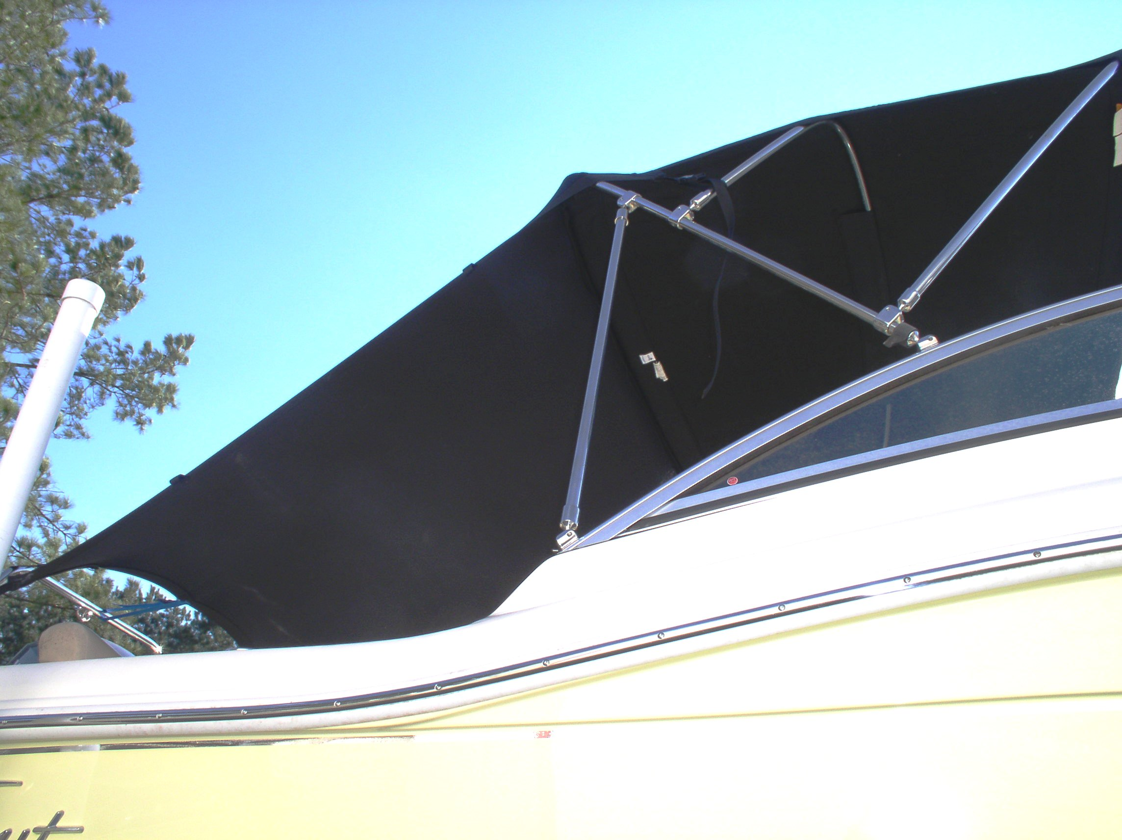 Boat Shade Kit Bimini Slant Back Inside starboard side