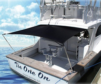 Shade-Kit-9x5™ULTIMATE Boat Shade Extension Kit, Black, 9-ft Wide x 5-ft Long unstretched (stretches up to 10-11' Wide x 5-7' Long = 45-77 Square Feet) for Wide 28-50 foot Cuddy, Express and Sportfish boats with Full-Width Hard-Tops and a Beam of 10 to 12 feet with 2 Rod Holders on the gunwales at the rear of the boat