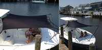 Shade-Kit-5x4-Tapered-White™T-Top/Hard-Top Boat Shade Kit, White, 50-inches wide at front, 60-inches wide at rear x 4-ft Long unstretched (stretches up to 6.5' Wide x 6' Long = 19-33 square feet) for most smaller Bay, Center Console and most Walk-Around, Cuddy or Express boats with a narrow width (52-60') T-Top or Hard-Top frame, a Beam of 9-1/2 foot or less and 2 Rod Holders on the gunwales at the rear of the boat (A-Class-Tapered)