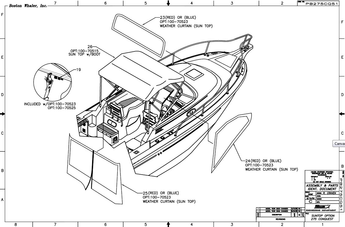 Boston Whaler Parts Diagram Wiring Bimini Top Canvas Zippered Factory Oem For Conquest 1127x741