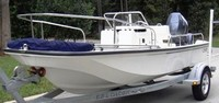 Photo of Boston Whaler Montauk 170, 2004: Bimini Top Folded Forward in, Front of 20 inch Bow Rails