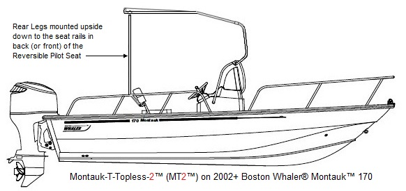 Boston Whaler Montauk 170, 2010, Montauk-T-Topless™ 2 in raised positon with Rear Legs mounted to RPS Seat