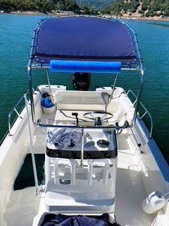 Boston Whaler Montauk 170, 2018, Montauk-T-Topless™ 2 (MT2) with foam pad to protect plastic rod holders when lowered Front