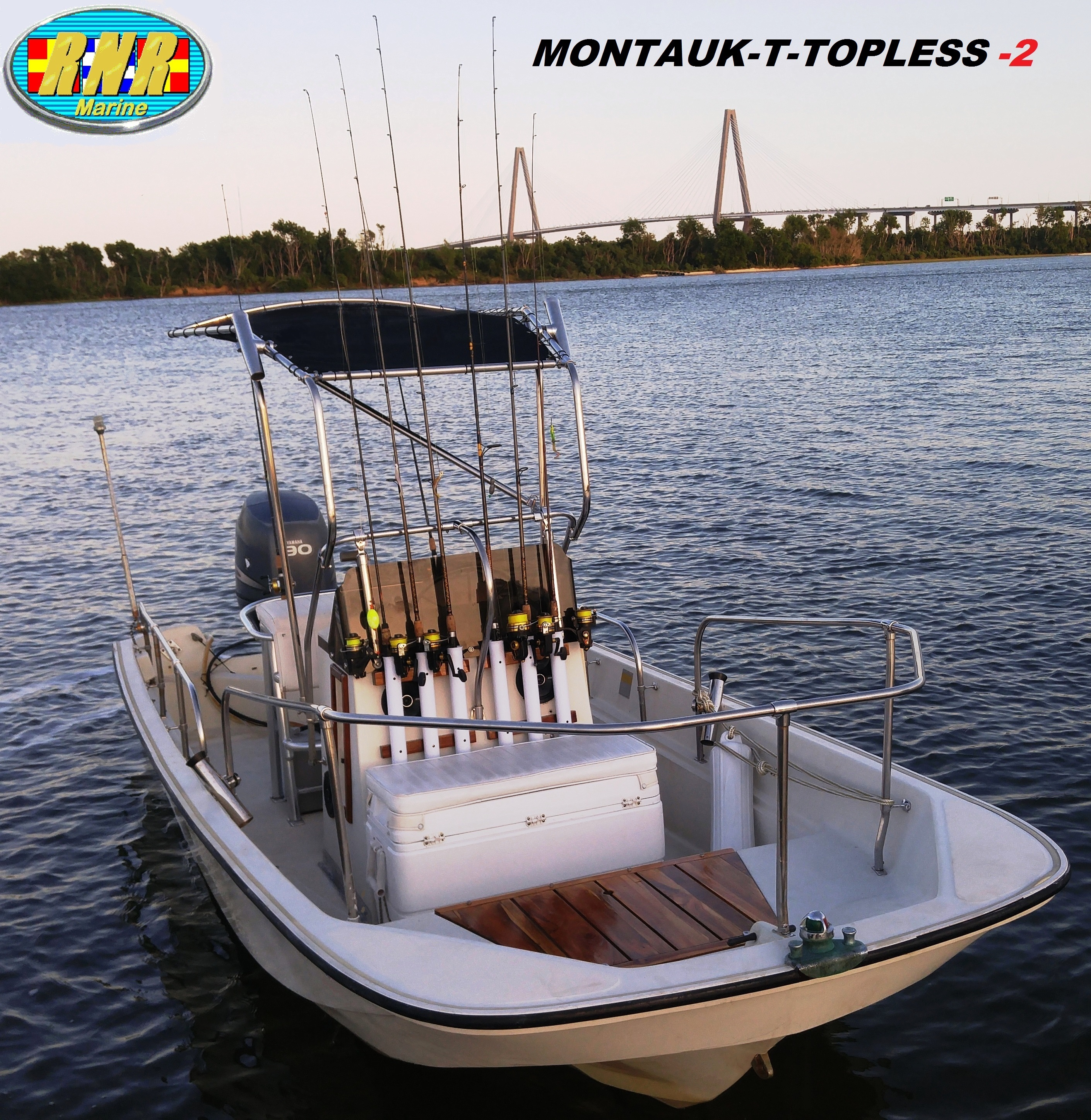 Boston Whaler Montauk 17, 19xx, Montauk-T-Topless™ (MT2) on the water Cooper River Bridge, starboard front