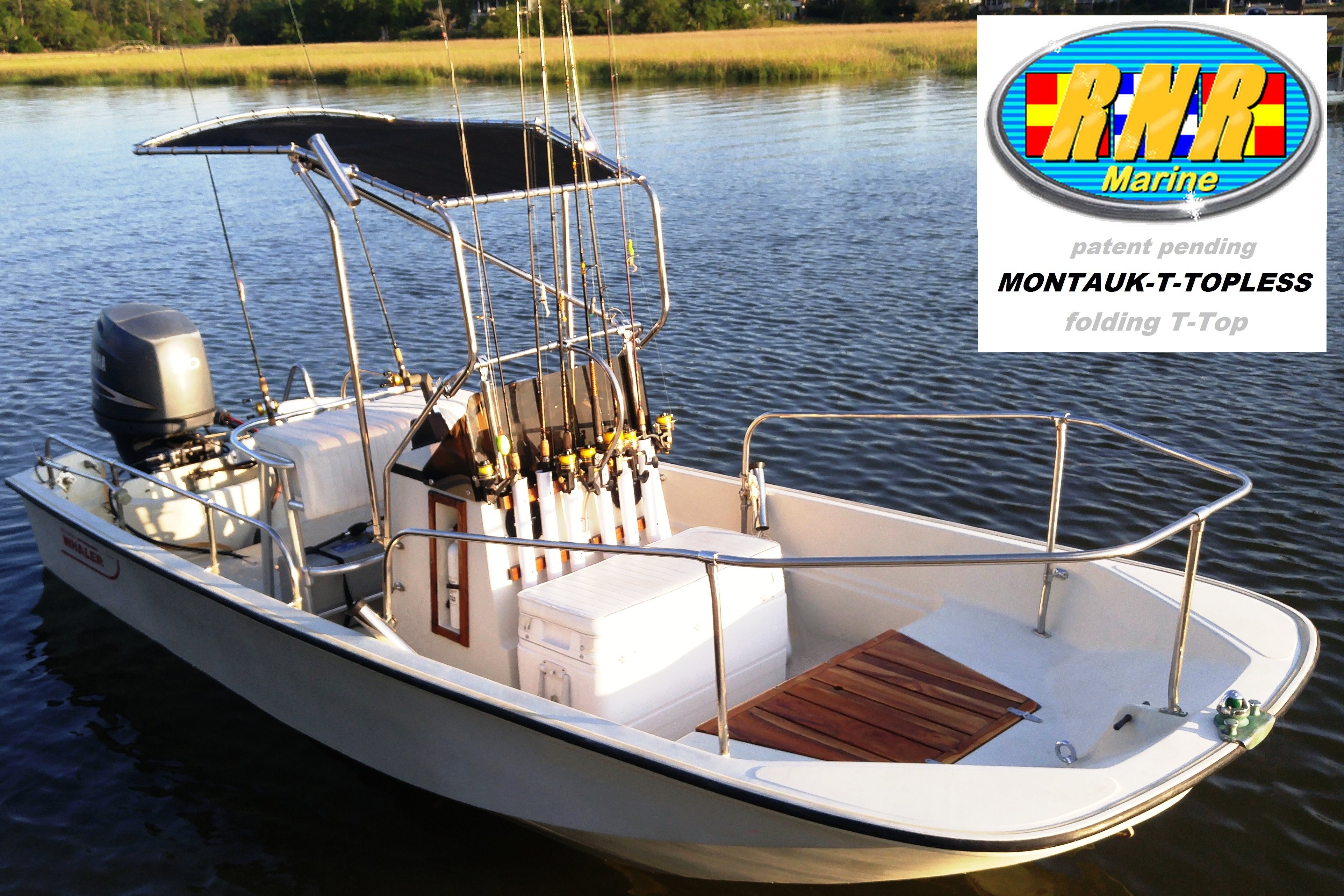 Boston Whaler Montauk 17, 19xx, Montauk-T-Topless™ (MT2) on the water, starboard front
