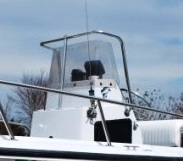 Boston Whaler Outrage 17, 1996, T-Topless™ and Shadow will not fold down due to Overgnaging Windshield Grab Rails