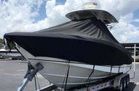TTopCovers™ Boston Whaler, Outrage 280, 20xx, T-Top Boat Cover, Sand Bags, On Lift, port front