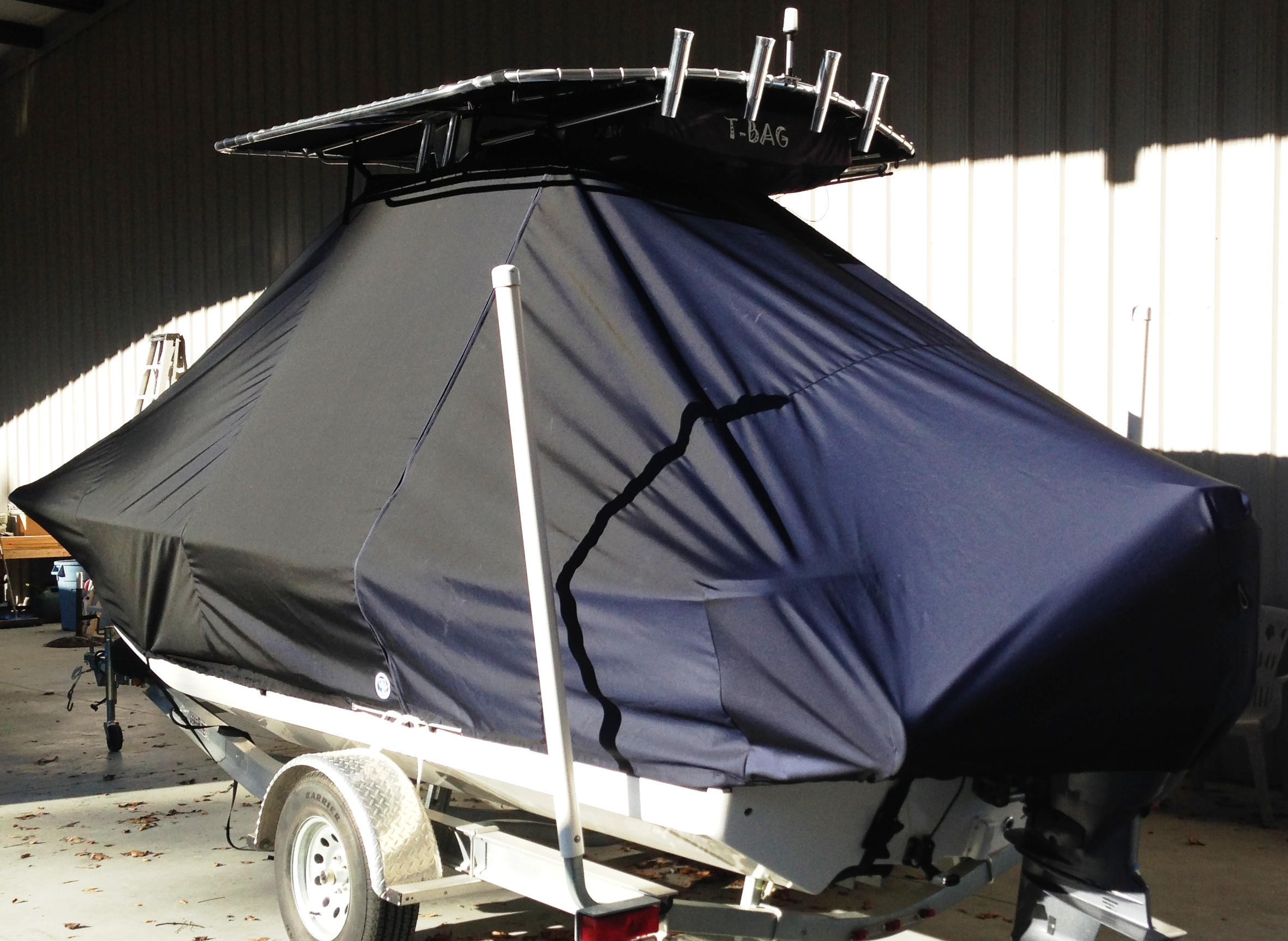 Carolina Skiff, 198 DLV, 20xx, TTopCovers™ T-Top boat cover, port rear