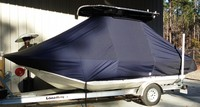 Carolina Skiff® 198 DLV T-Top-Boat-Cover-Elite-849™ TTopCover(tm) T-Top or Hard-Top Boat-Cover (Elite 9oz./sq.yd. fabric) attaches beneath T-Top or Hard-Top frame to cover entire boat, bow, helm, cockpit and motor(s). Custom patterned for tight fit