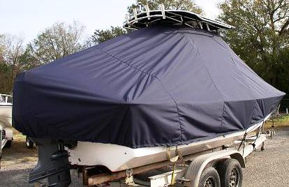 Carolina Skiff 218DLV, 20xx, TTopCovers™ T-Top boat cover rear