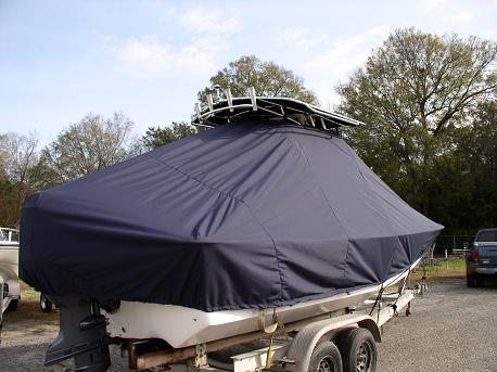 Carolina Skiff 218DLV, TTopCovers™ T-Top boat cover 546 rear