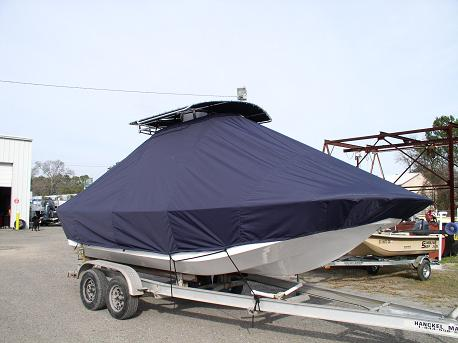 Carolina Skiff 218DLV, TTopCovers™ T-Top boat cover 546, starboard front