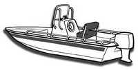 Center-Console-Boat-Cover-V-Hull-Single-Engine-NO-Bow-Rail-Boat-25N™Carver(r) p/n 71225NA Universal (non-OEM) Sunbrella(r) Center Console Fishing Boat Cover for 24ft,7in-25ft,6in CLL, 92-inch BEAM V-Hull, Single Engine, NO Bow Rail Boat  with V-Bow, No or Low (less than 3 inch high) Bow Rails, NO T-Top, Console Height (including Windshield and Grab Rails) up to 55-inch above deck, Coverage is provided for bow mounted Trolling Motor