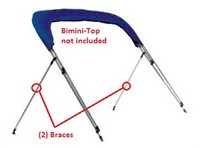 Bimini-Top-Strut-Braces-Stainless-Carver™Pair (Port and Starboard) of 48-inch Stainless Steel Rear Top Brace Assemblies
