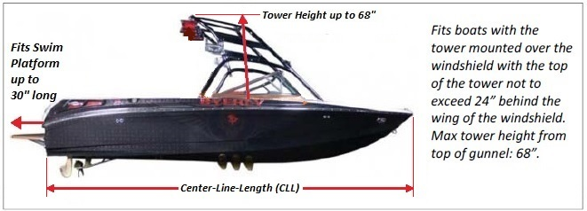 Carver Over-The-Tower Boat-Cover Fit Diagram (click to enlarge)
