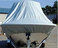 T-Top-Hard-Top-Boat-Cover_Round-Bow-Bay-Boats_256™Carver(r) partno 90025SR (style DEHT-25) Cover goes OVER the T-Top or Hard-Top to protect entire boat, bow, helm, seats, cockpit and motor. on 25ft-6inch Center-Line Length (CLL), 108-inch Beam Bay Style Rounded Bow, Center Console, Shallow Draft boat