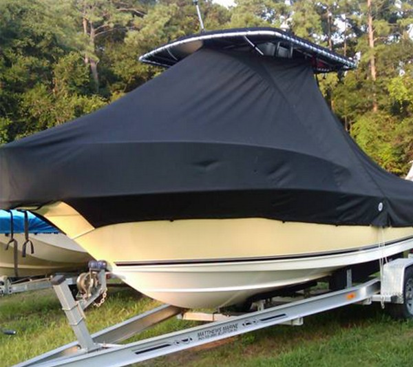 Century, 2001CC, 20xx, TTopCovers™ T-Top boat cover with Bow Rails, port front