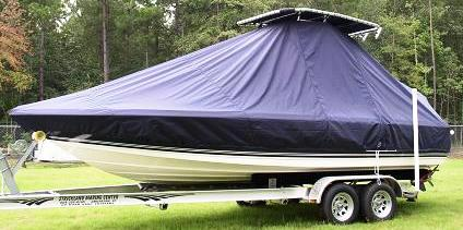 Century 2102 Bay, 20xx, TTopCovers™ T-Top boat cover, port front