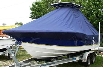 Century 2300CC, 20xx, TTopCovers™ T-Top boat cover, port front