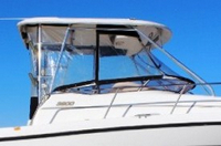 Photo of Century 3200WA Venturi WindShield, 2004: Factory OEM Hard Connector, Side-Curtains, Aft-Drop-Curtain, viewed from Starboard, Side