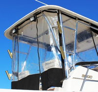 Photo of Century 3200WA Venturi WindShield, 2004: Factory OEM Hard-T Top Connector, Side-Curtains, Aft-Drop-Curtain, viewed from Starboard, Rear