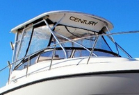 Photo of Century 3200WA Venturi WindShield, 2004: Factory OEM Hard-T Top Side-Curtains, Aft-Drop-Curtain, viewed from Starboard, Front