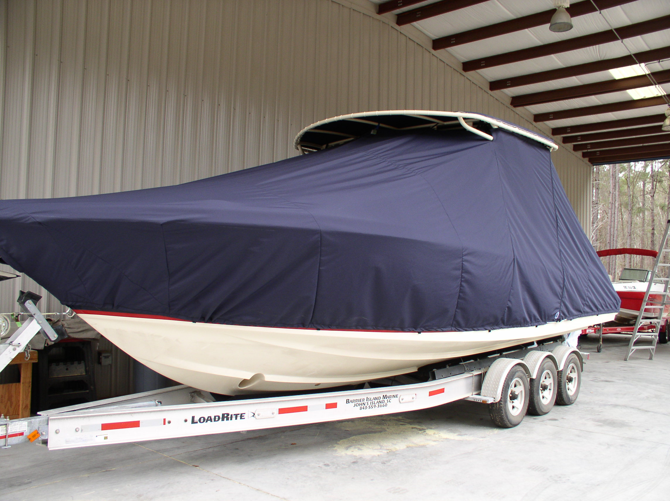 Chris Craft 29 Sun Tender, 20xx, TTopCovers™ T-Top boat cover, port front