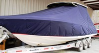 Chris Craft® Catalina 29 Suntender T-Top-Boat-Cover-Wmax-2149™ TTopCover(tm) T-Top or Hard-Top Boat-Cover (Weathermax -80(tm) 8oz./sq.yd. fabric) connects to underside of T-Top or Hard-Top frame to cover entire boat, bow, helm, cockpit and motor(s). Custom patterned (not a generic fit cover) for tight fit