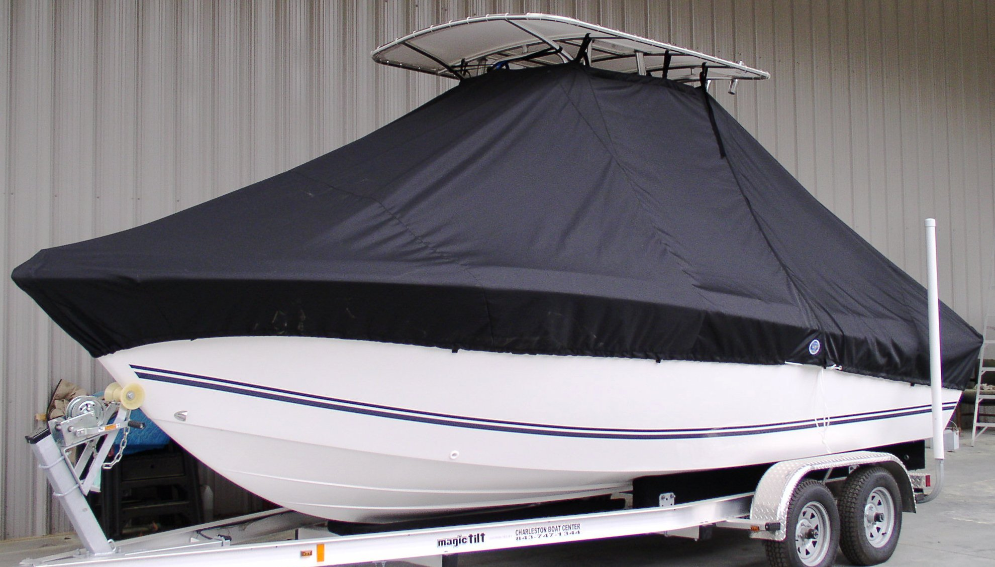 Clearwater 2100CC, 20xx, TTopCovers™ T-Top boat cover, port front