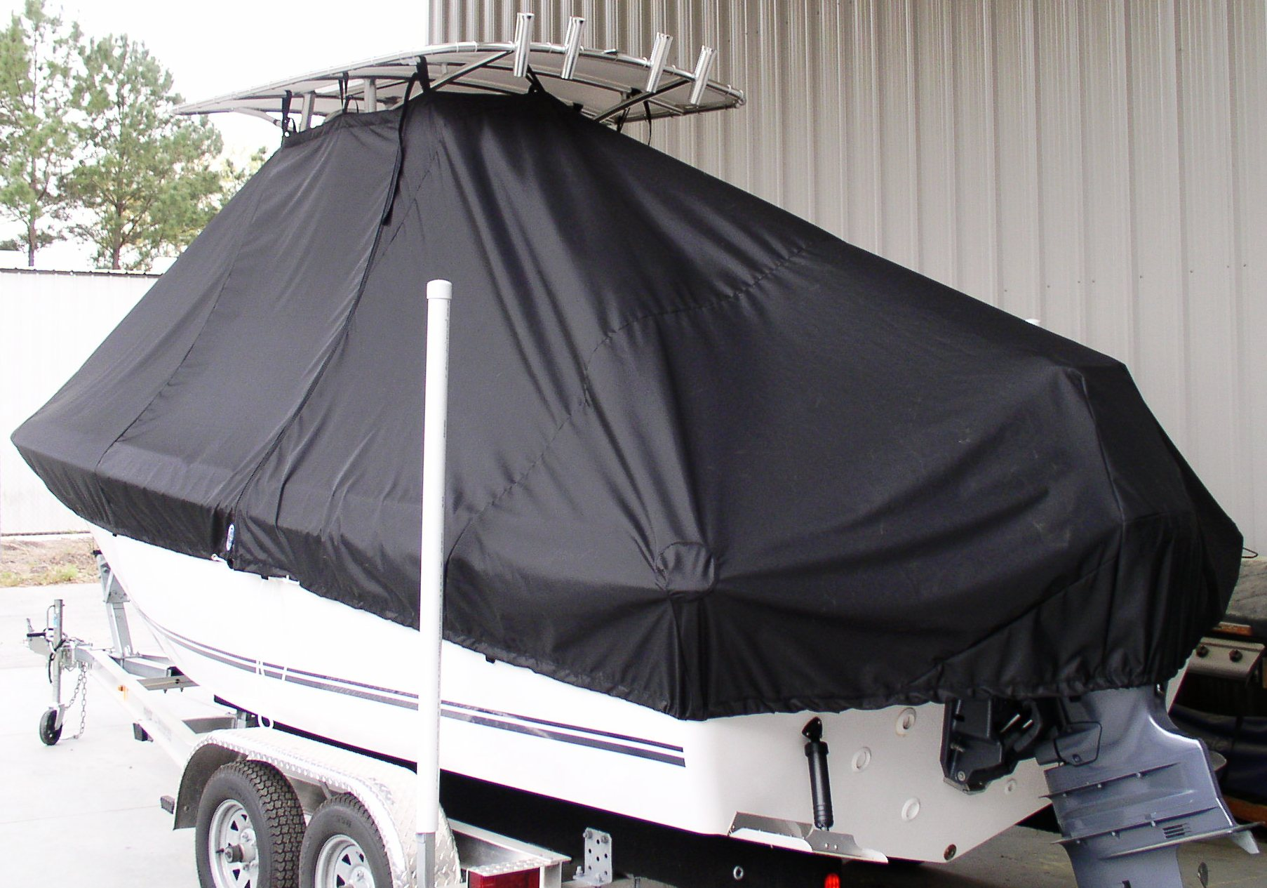 Clearwater 2100CC, 20xx, TTopCovers™ T-Top boat cover, port rear