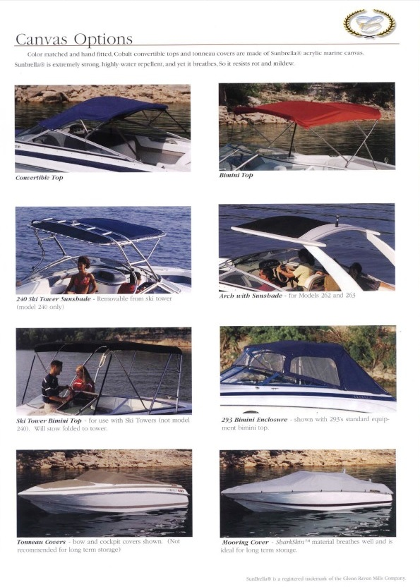 Cobalt® all-boats, 2002: Canvas-Options from, 2002:-brochure