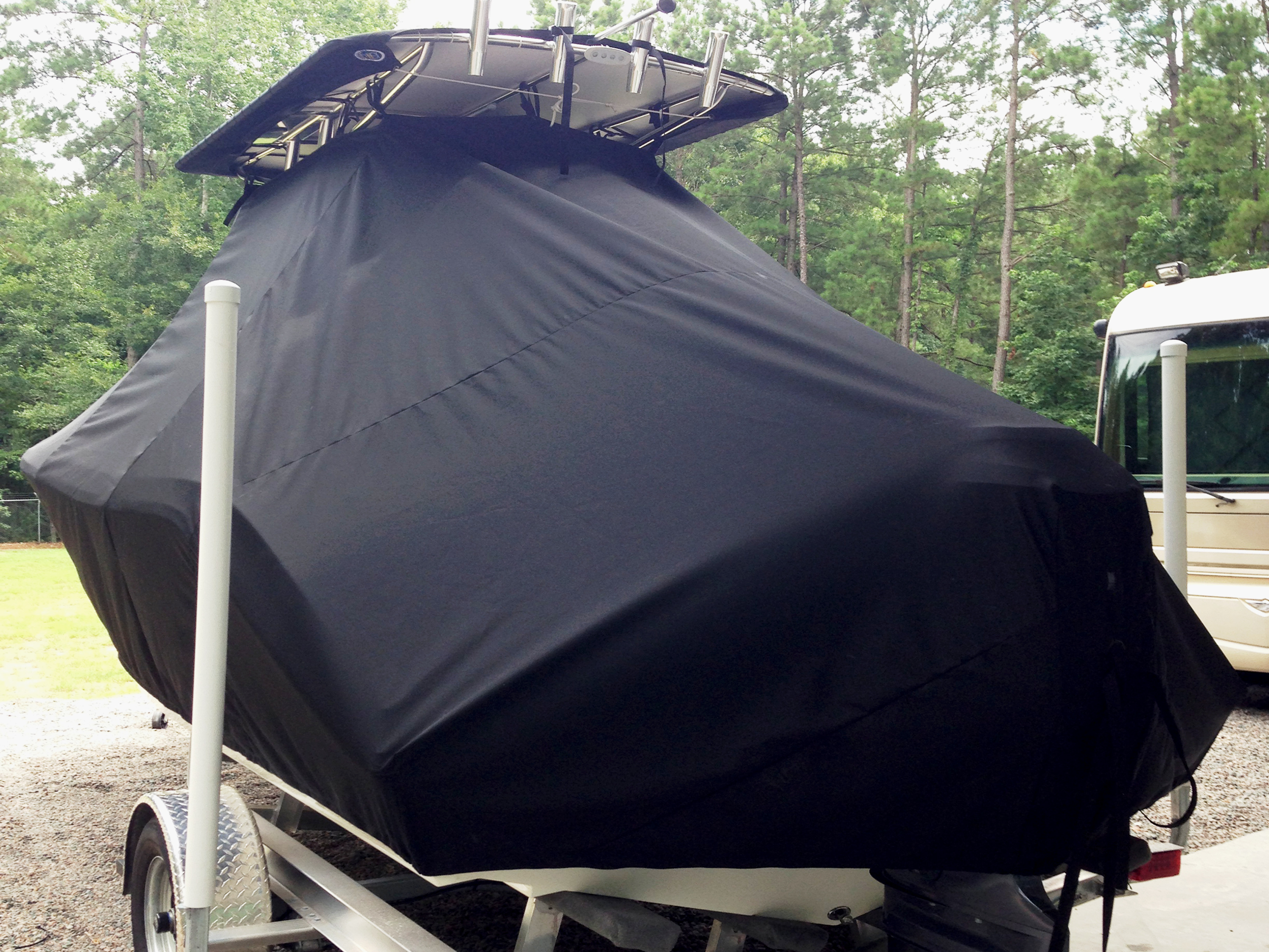 Cobia, 201CC, 20xx, TTopCovers™ T-Top boat cover rear