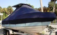 Photo of Cobia® 214CC 20xx T-Top Boat-Cover, viewed from Starboard Front