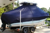 Photo of Cobia® 214CC 20xx T-Top Boat-Cover, viewed from Starboard Rear