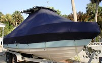 Photo of Cobia® 216CC 20xx T-Top Boat-Cover, viewed from Starboard Front