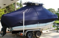 Photo of Cobia® 216CC 20xx T-Top Boat-Cover, viewed from Starboard Rear