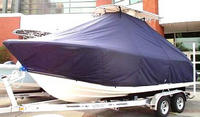 Photo of Cobia® 217CC 20xx T-Top Boat-Cover, viewed from Port Front
